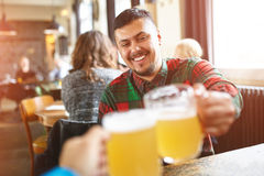 Friends meeting. First person portrait of a young cheerful smiling man in casual wear toasting with beer/ale while sitting in pub royalty free stock photos