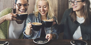 Friends Meeting Happiness Coffee Shop Concept Stock Images