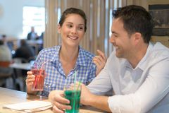 Friends meeting for lunch drink. Friends meeting for a lunch drink Royalty Free Stock Photography