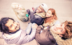 Friends meeting outdoors stock image