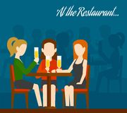Friends Meeting In Restaurant Royalty Free Stock Image