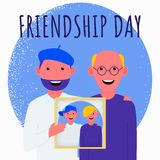 Friends met on the day of friendship and keep photos of their youth. royalty free illustration