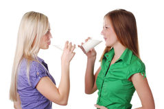 Friends with milk Royalty Free Stock Image