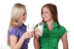 Friends with milk Royalty Free Stock Images