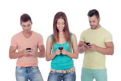 Friends with mobiles Royalty Free Stock Photos