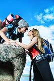 Friends at mountains Royalty Free Stock Photos