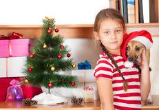 Friends near the Christmas tree Royalty Free Stock Photography