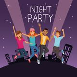 Friends at night party. Icon vector illustration graphic design Stock Photo