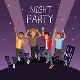 Friends at night party. Icon vector illustration graphic design Stock Images