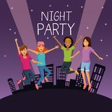 Friends at night party. Icon vector illustration graphic design Royalty Free Stock Image
