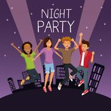 Friends at night party. Icon vector illustration graphic design Stock Photos