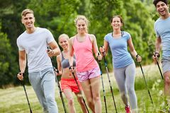 Friends nordic walking. As healthy sport royalty free stock photos