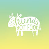 Friends not food, cow silhouette. Stock Image