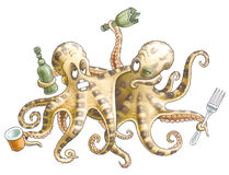 Friends-octopuses Royalty Free Stock Photo