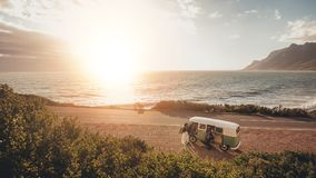 Free Friends On Roadtrip Travelling By A Van Stock Image - 101759601