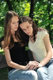 Friends - one teenage girl comforts Royalty Free Stock Image