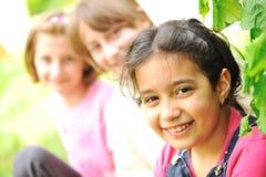 Friends outdoor. Three beautiful girls Stock Photo