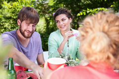 Friends outdoor at summer party Royalty Free Stock Photos