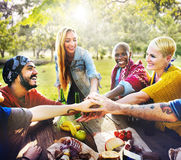 Friends Outdoors Camping Teamwork Unity Concept Royalty Free Stock Photos
