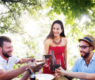 Friends Outdoors Vacation Dining Hanging out Concept.  stock images