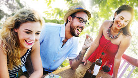 Friends Outdoors Vacation Dining Hanging out Concept.  stock photography