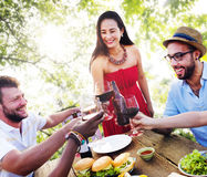 Friends Outdoors Vacation Dining Hanging out Concept Royalty Free Stock Photo