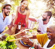Friends Outdoors Vacation Dining Hanging out Concept Stock Photos