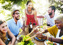 Friends Outdoors Vacation Dining Hanging out Concept stock photography