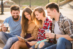 Friends outdoors Stock Images