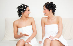 Friends pampering in towel Royalty Free Stock Photos