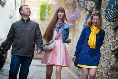 Friends in Paris walking together Royalty Free Stock Image