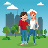 Friends at park cartoon. Vector illustration graphic design Stock Photography