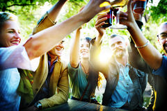 Friends Party Outdoors Celebration Happiness Concept Stock Image