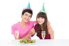 Friends at party table Royalty Free Stock Photos