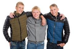 Friends peers in autumn jacket Stock Photos