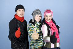 Friends people giving thumbs in a row royalty free stock photography