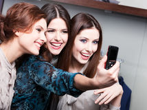 Friends photo session after shopping Royalty Free Stock Photo