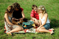 Friends at picnic stock photos
