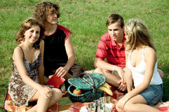 Friends at picnic. Portrait of four happy friends Royalty Free Stock Photos