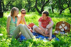 Friends on picnic royalty free stock images