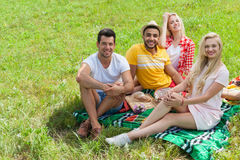 Friends picnic people group sitting blanket outdoor green grass Stock Photography