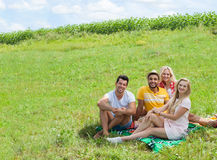 Friends picnic people group sitting blanket outdoor green grass. Two couple summer sunny day blue sky Stock Photo
