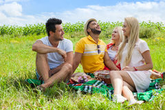 Friends picnic people group sitting blanket outdoor green grass. Two couple summer sunny day blue sky Stock Photography