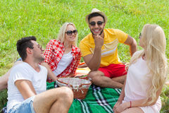Friends picnic people group sitting blanket outdoor green grass. Two couple summer sunny day blue sky Stock Image