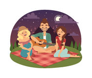 Friends picnicking summer vector. Friends picnicking summer happy lifestyle park outdoors together, enjoying meadow vacation character vector. Friends picnic Stock Photo