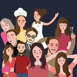 Friends picture together set of faces man woman group illustration flat Royalty Free Stock Photography