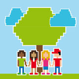 Friends pixel design. Over sky background vector illustration Stock Photo