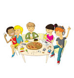 Friends in pizzeria Stock Photo
