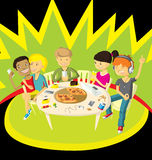 Friends in pizzeria Royalty Free Stock Photography