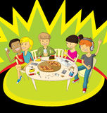 Friends in pizzeria Royalty Free Stock Images